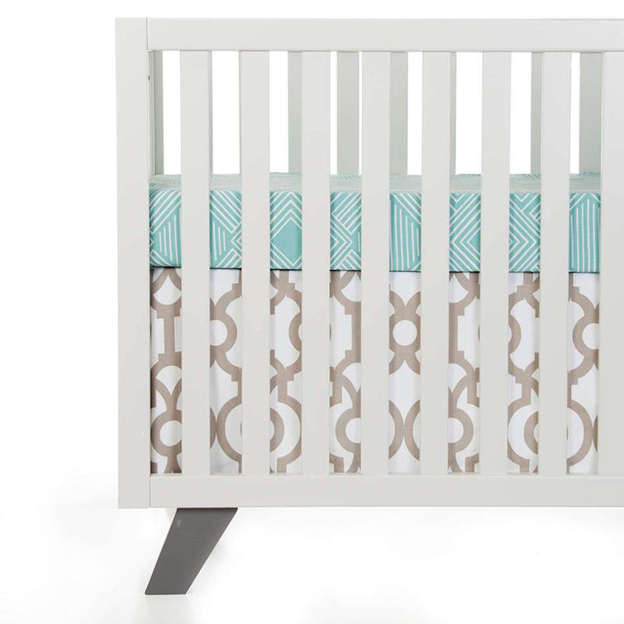 Glenna Jean Soho 2-Piece Starter Bedding Set (Includes aqua print sheet & crib skirt)