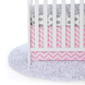 Glenna Jean Swizzle Pink 2-Piece Starter Bedding Set (Includes grey dot sheet & crib skirt)