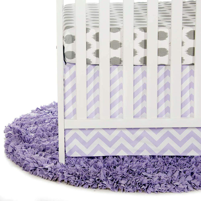 Glenna Jean Swizzle Purple 2-Piece Starter Bedding Set (Includes grey dot sheet & crib skirt)