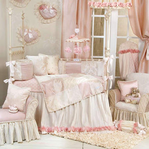 Glenna Jean Victoria 4-Piece Bedding Set (Includes quilt, bumper, pink/white dot sheet & crib skirt)