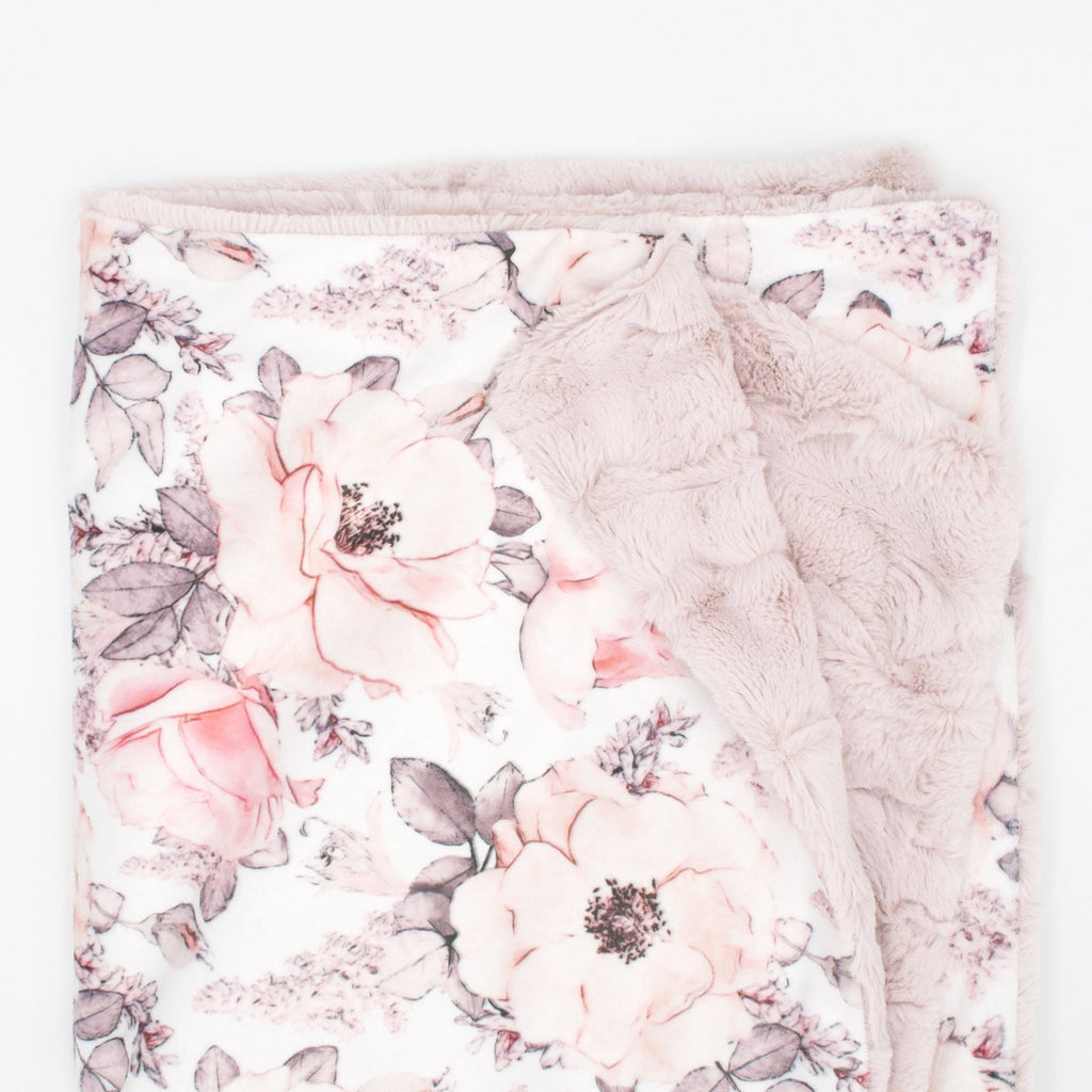 Sugar + Maple Wallpaper Floral Minky Blanket - Personalized