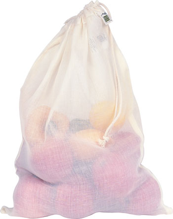 Natural Gauze Produce Bag with Drawstring-Large