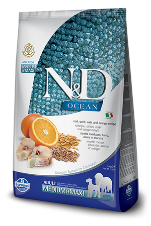 Farmina Ocean N&D Natural and Delicious Ancestral Grain Medium & Maxi Adult Cod, Spelt, Oats & Orange Dry Dog Food