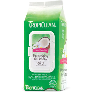 TropiClean Deep Cleaning Berry & Coconut Deodorizing Wipes for Dogs & Cats