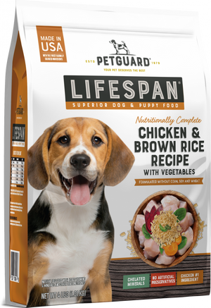 PetGuard LifeSpan Chicken, Brown Rice Recipe with Vegetables Superior Dog & Puppy Dry Food