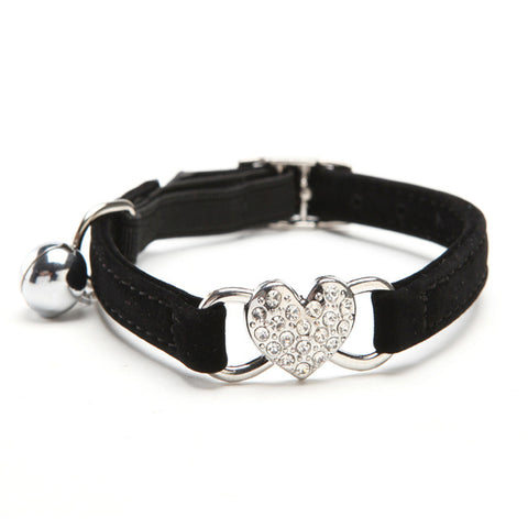Heart Charm and Bell Safety Elastic Adjustable cat collar