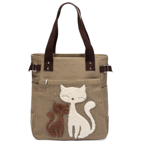 Cute Cat Women Canvas Handbag