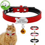 Leather Personalized Cat Collar with Custom Engraving of Cat Name and ID