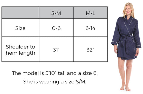Sateen Robe Size Guide