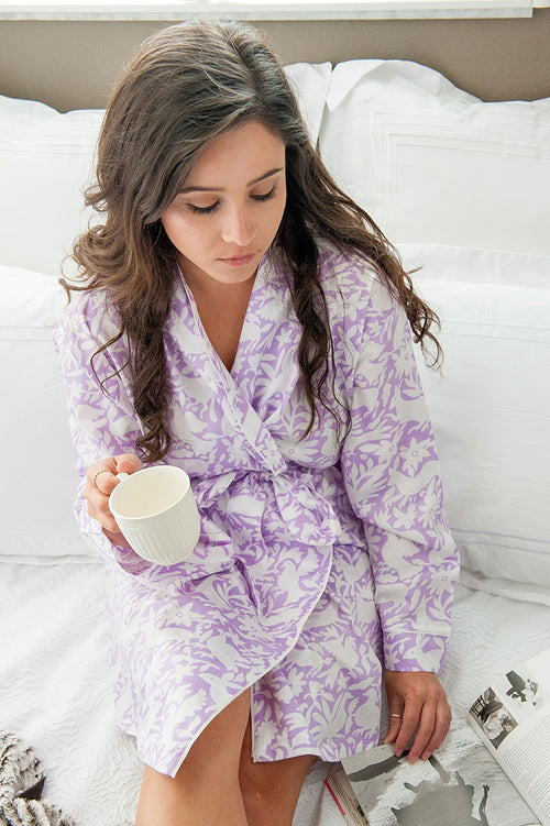 Otomi Purple Sateen Robe