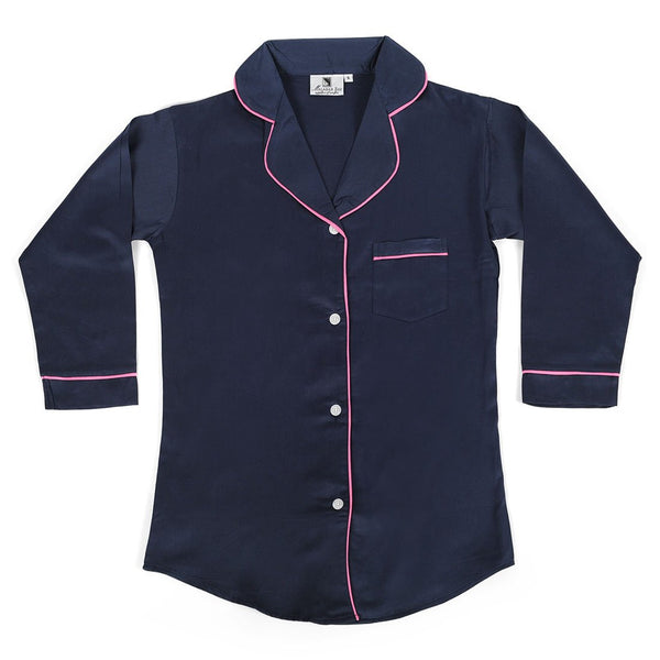 Navy With Pink Sateen Boyfriend Shirt