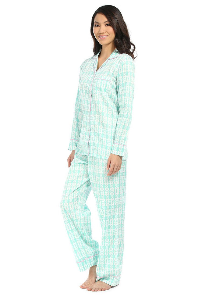 Sea Kisses Aqua Sateen Pajama Set