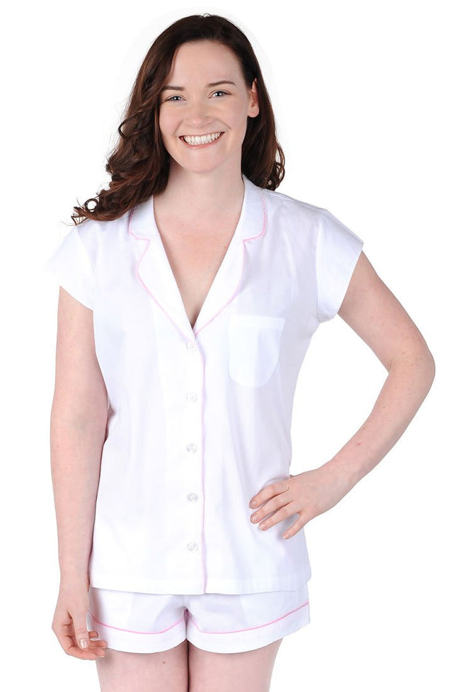 White Cotton Poplin Summer Pajama Set