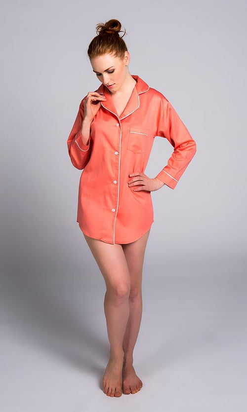Coral With White Sateen Boyfriend Shirt