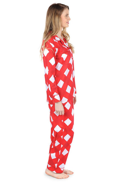 Buffalo Red Sateen Full Pajama Set