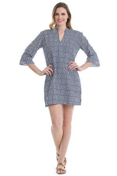 Greek Key Navy Kaftan Cover Up
