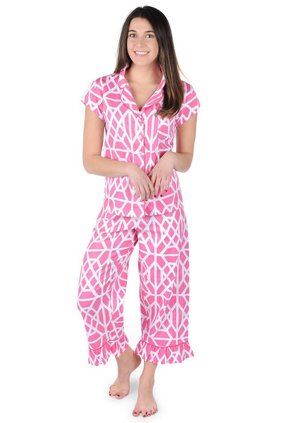Don't Fret Pink Sateen Capri Pajama Set