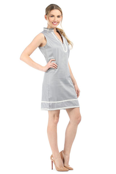 Grey With White Charleston Shift Dress