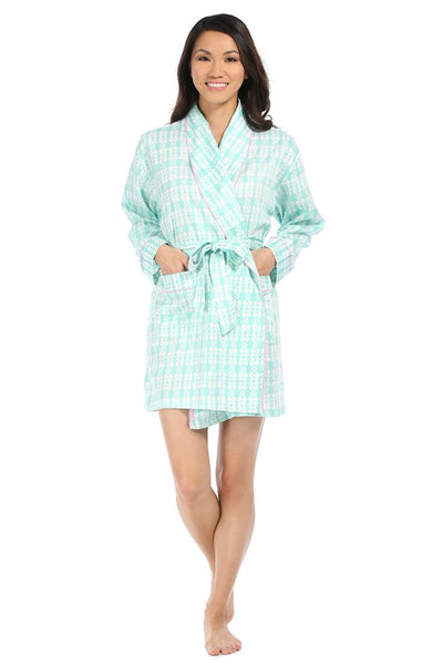 Sea Kisses Aqua Sateen Robe