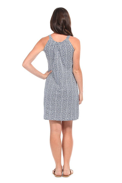 Greek Key Navy Anywhere Dress