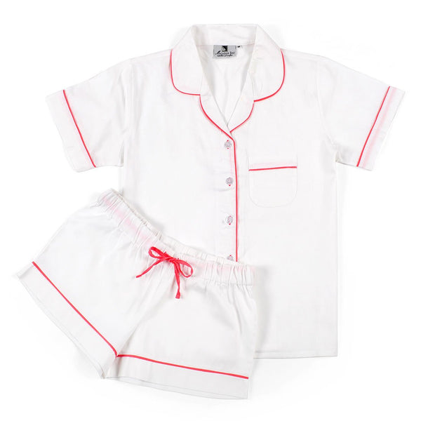 White With Pink Sateen Summer Pajama Set