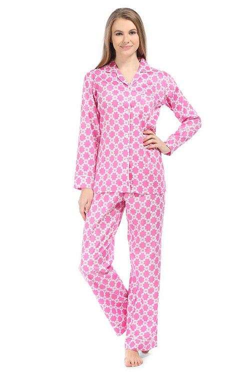 Lattice Pink Sateen Pajama Set