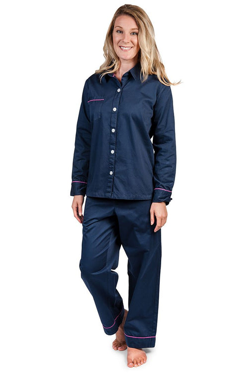 Navy Women's Sateen Pajama Set