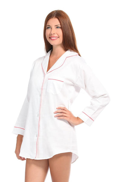 White With Pink Sateen Boyfriend Shirt
