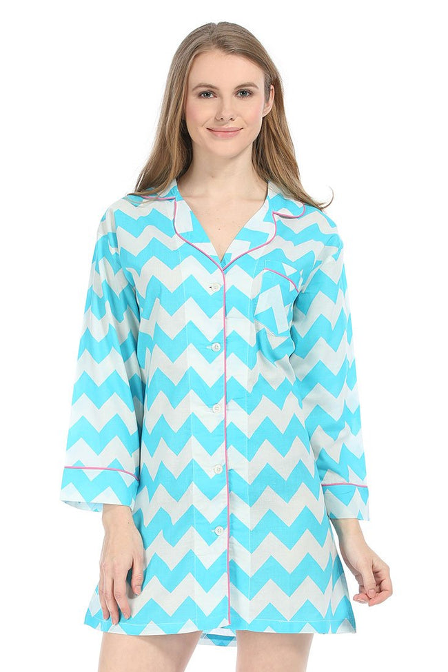Chevron Blue Bed Shirt