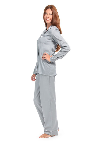 Grey With White Sateen Pajama Set