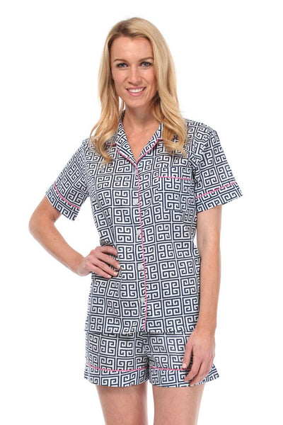 Greek Key Navy Summer Pajama Set