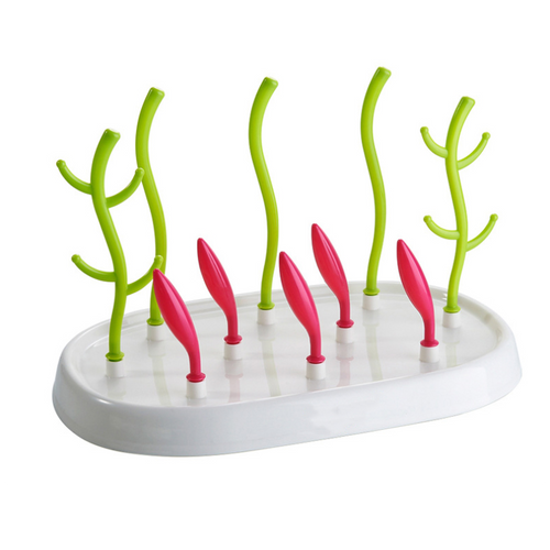 Multi-functional Anti-Bacterial Bottle Drying Rack - Green Trees And Red Buds