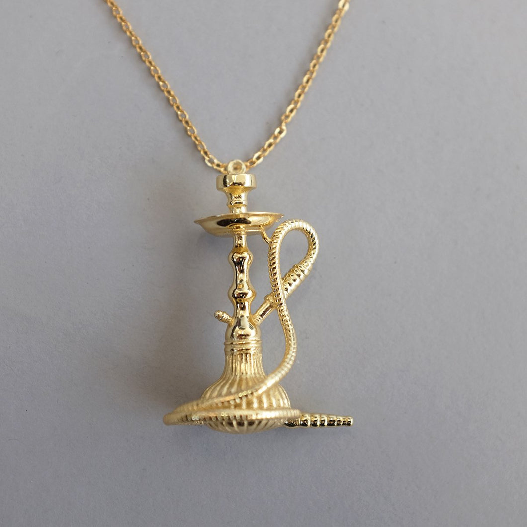 18K Gold Shisha/Hookah Necklace