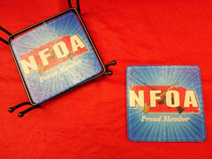 NFOA Square Chinchilla Glass Coaster Set with Wrought Iron stand - AP Touch