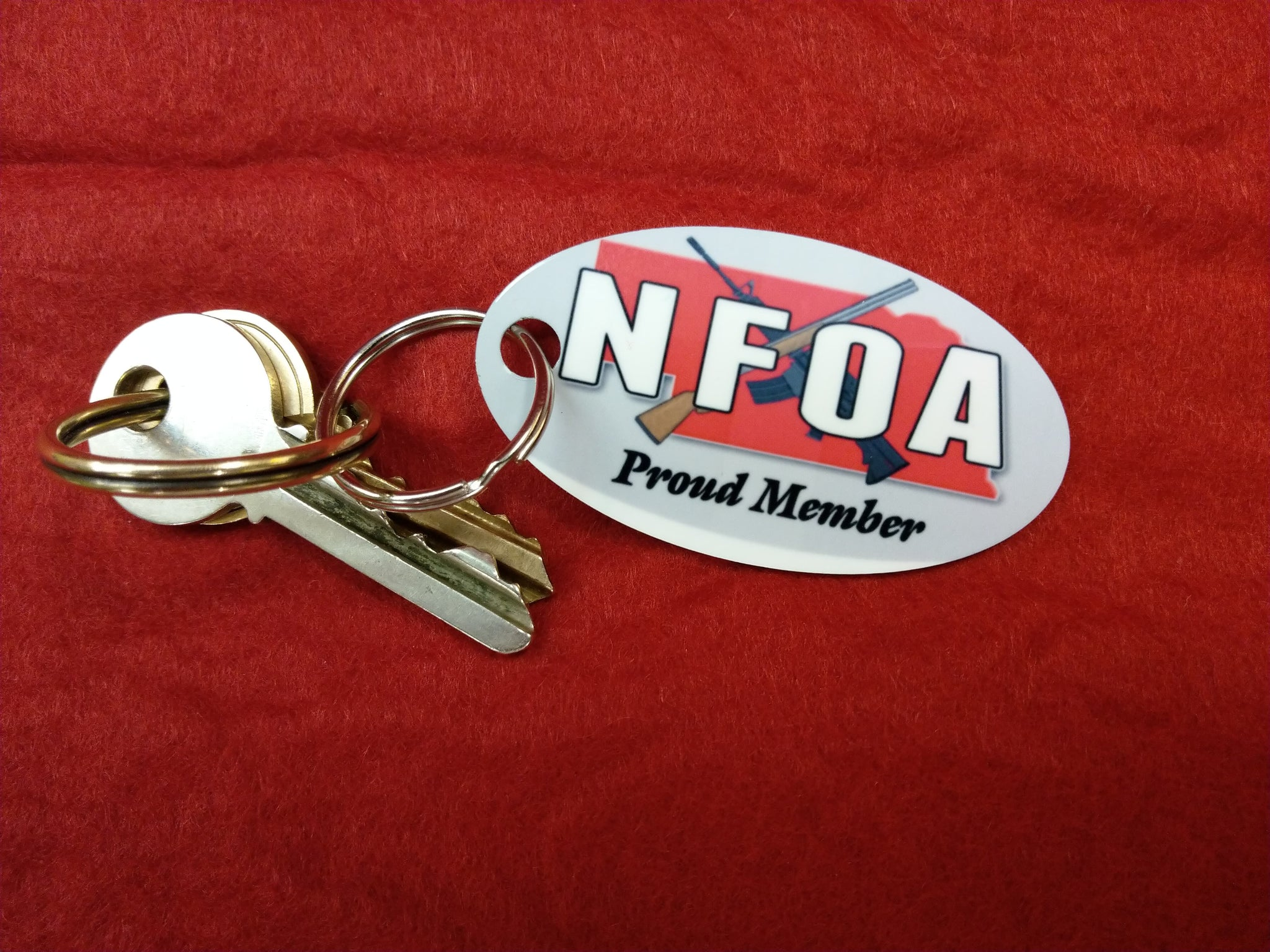 NFOA Oval Aluminum Key Tag with Jump Ring - AP Touch