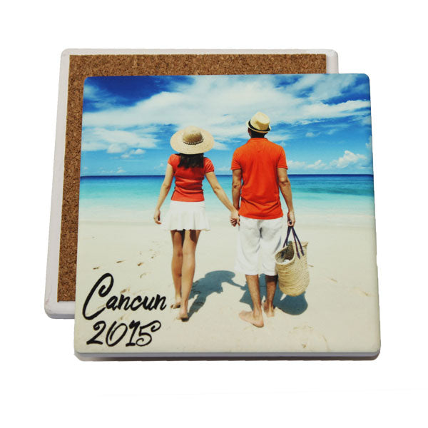 4x4 IronClad® Square Sandstone Coasters - White - AP Touch