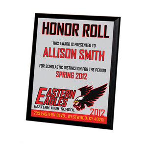 8x10  MDF Plaque w/Black Edge - White Gloss - AP Touch
