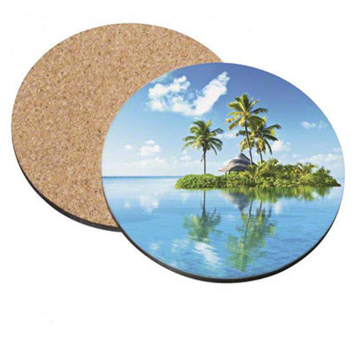 Gloss Hardboard Coaster w/ Cork Backing - AP Touch