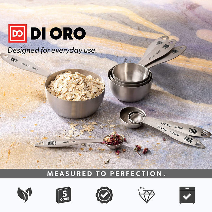 4-Piece 18/8 Stainless Steel Measuring Cup Set - DI ORO