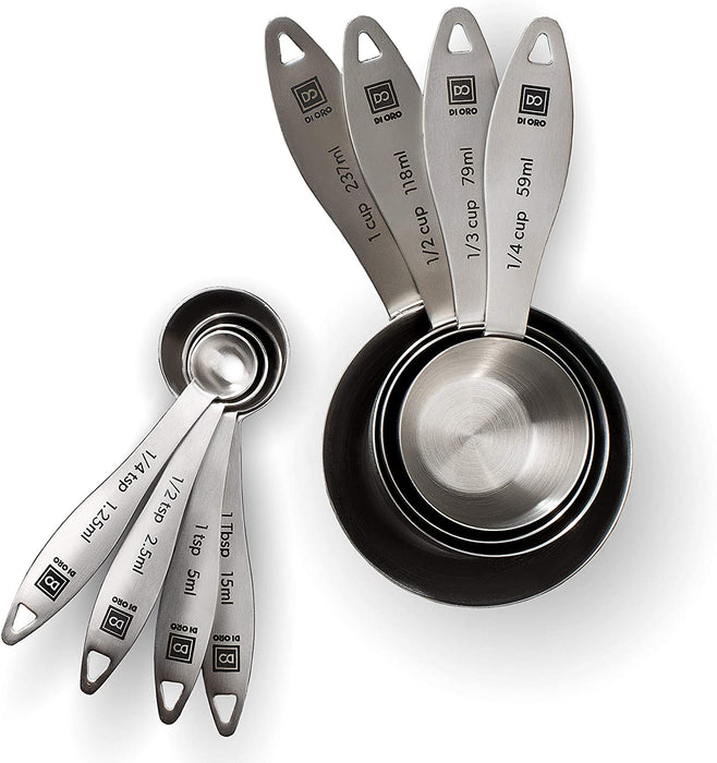 DI ORO 8-Piece 18/8 Stainless Steel Measuring Cup and Spoon Set - DI ORO