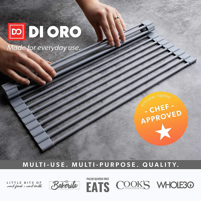 DI ORO Roll-Up Silicone Over the Sink Dish Drying Rack (2 Sizes) - DI ORO