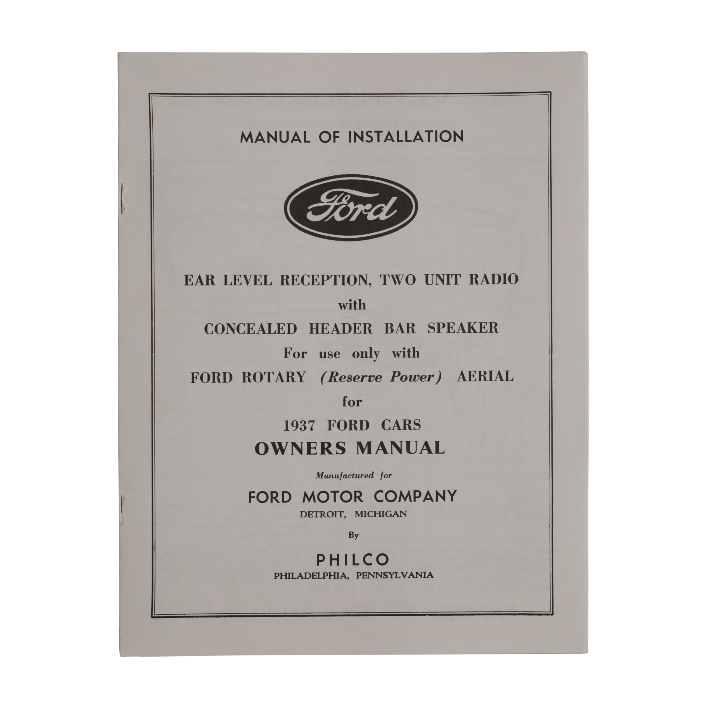 Radio Owners Manual  • 1937 Ford