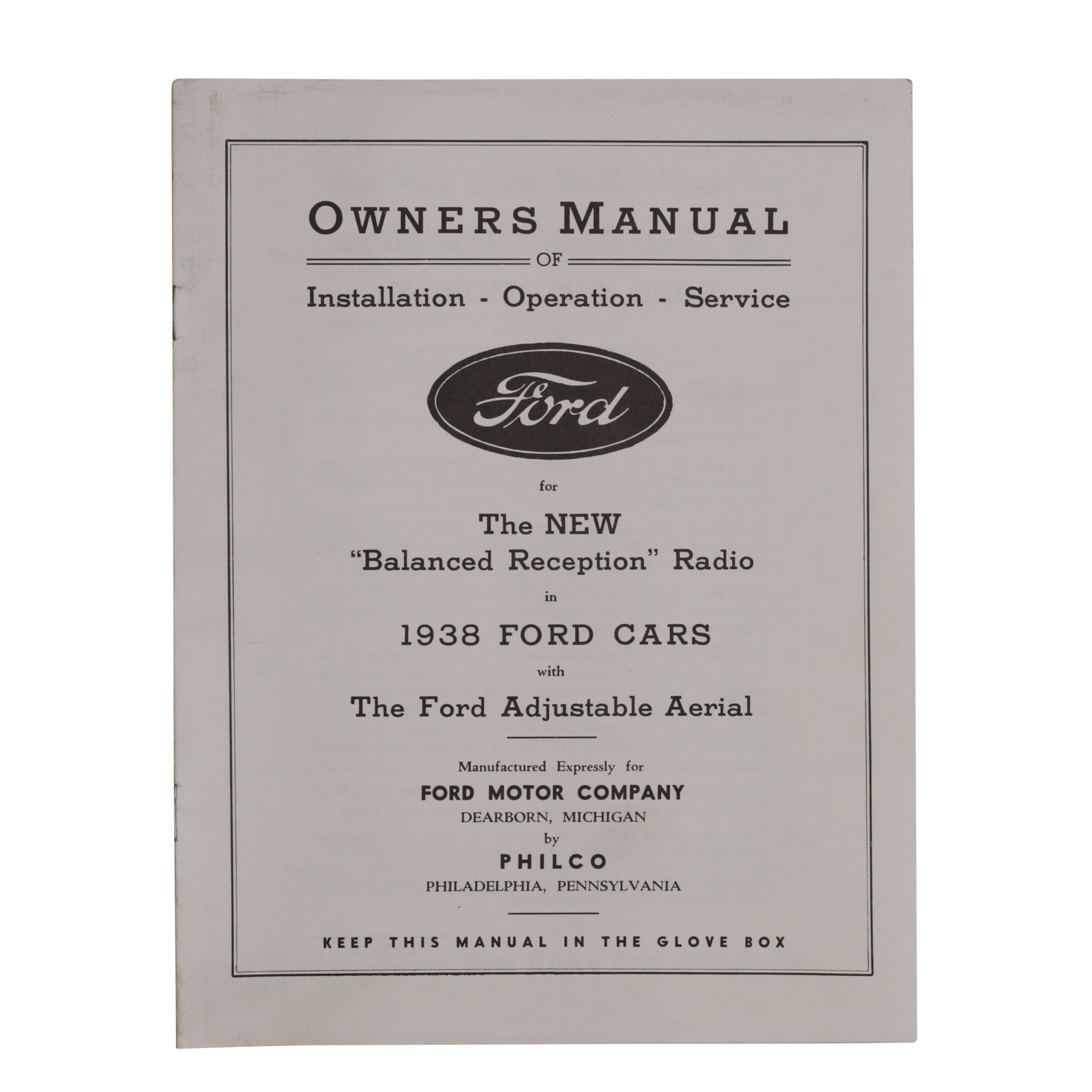 Radio Owners Manual  • 1938 Ford