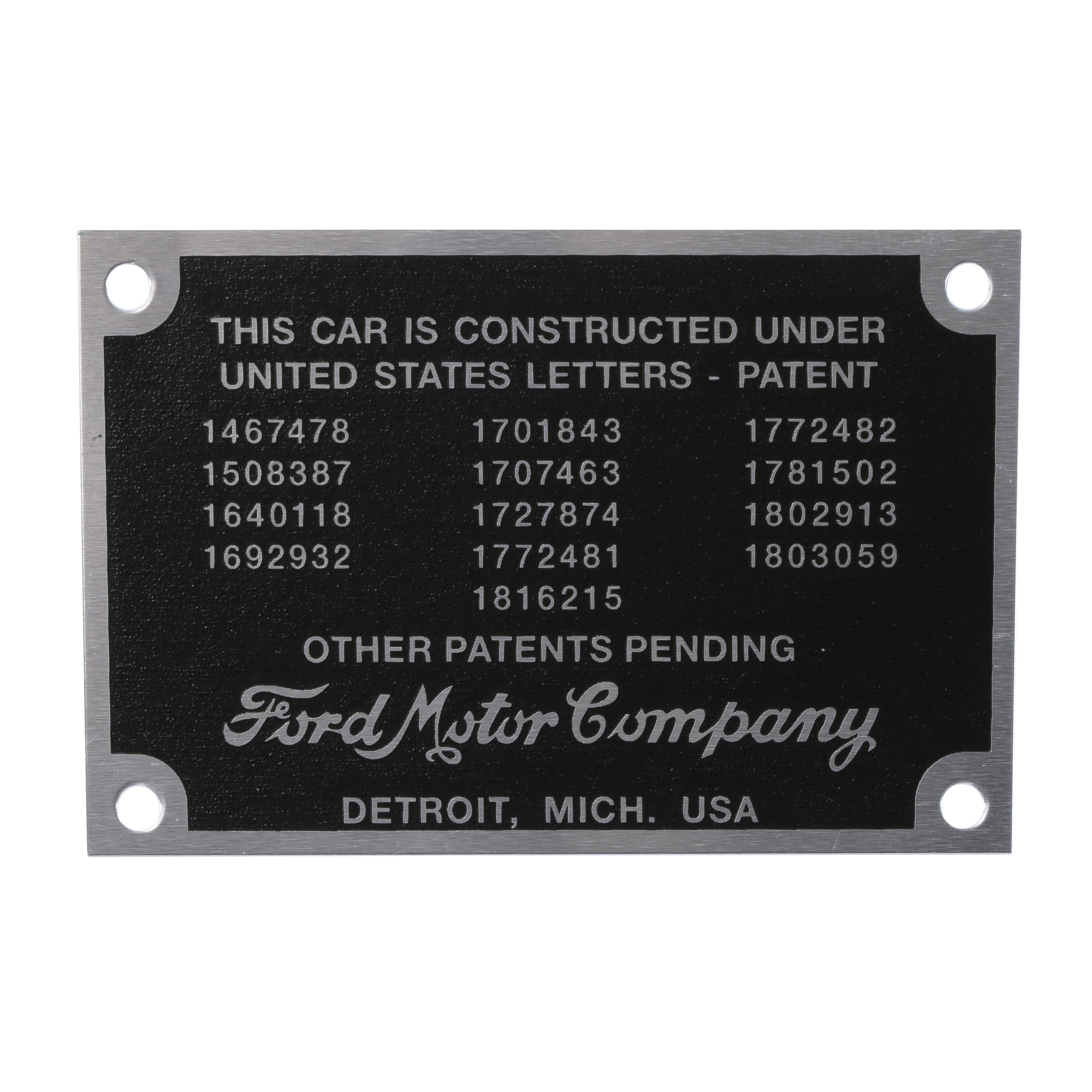 Patent Data Plate • 1932-34 Ford Passenger & Pickup