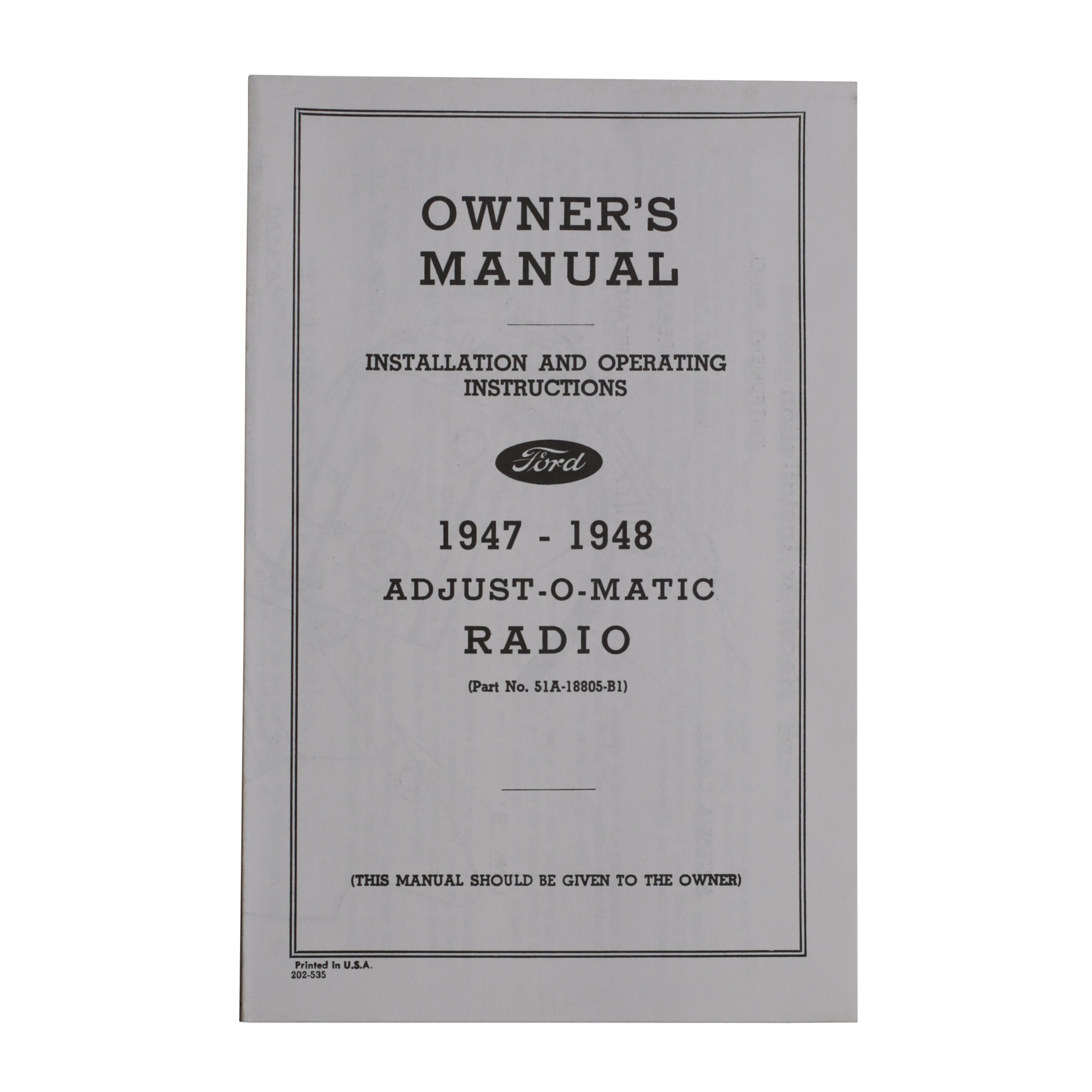Radio Owners Manual  • 1947-48 Ford