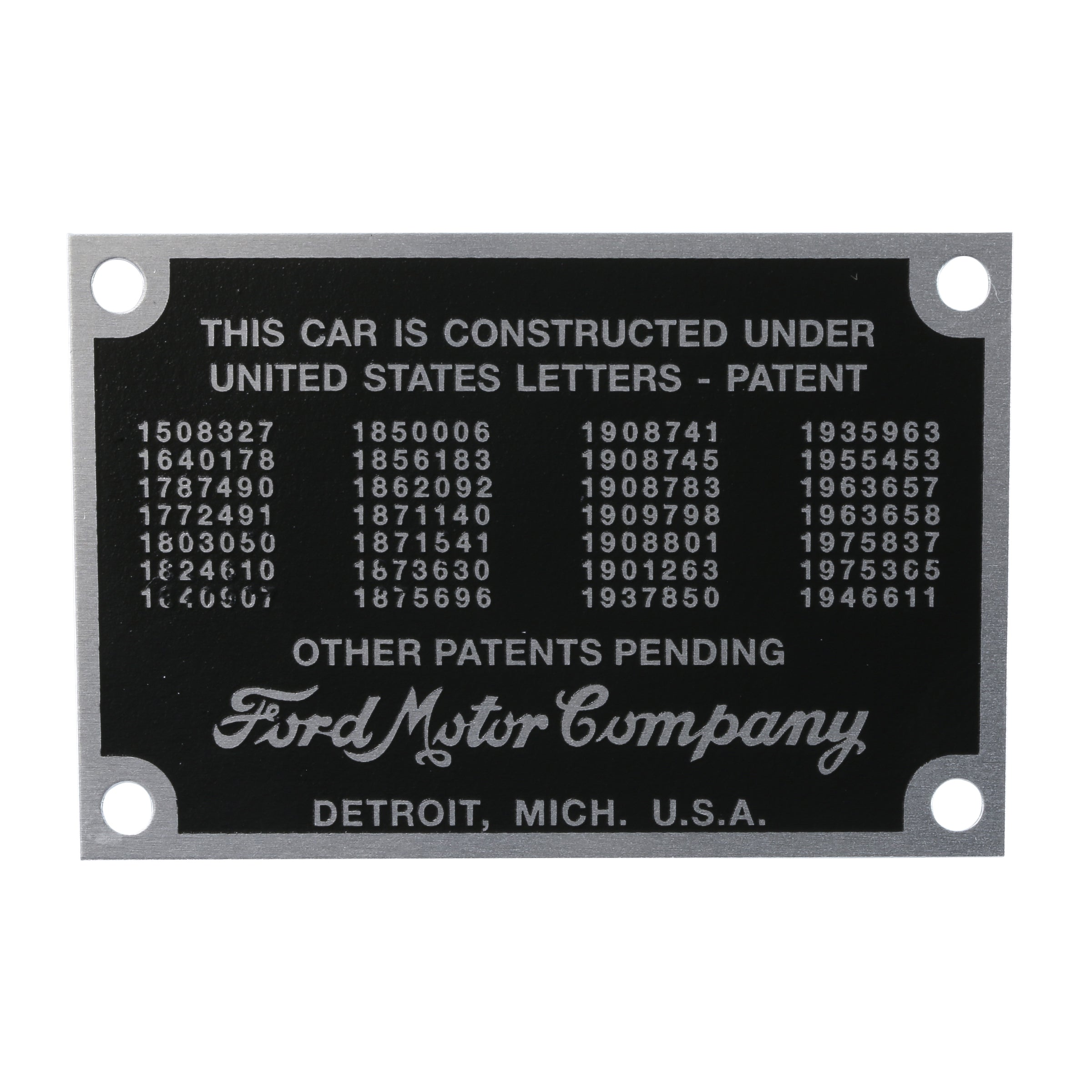 Patent Data Plate • 1935-36 Ford