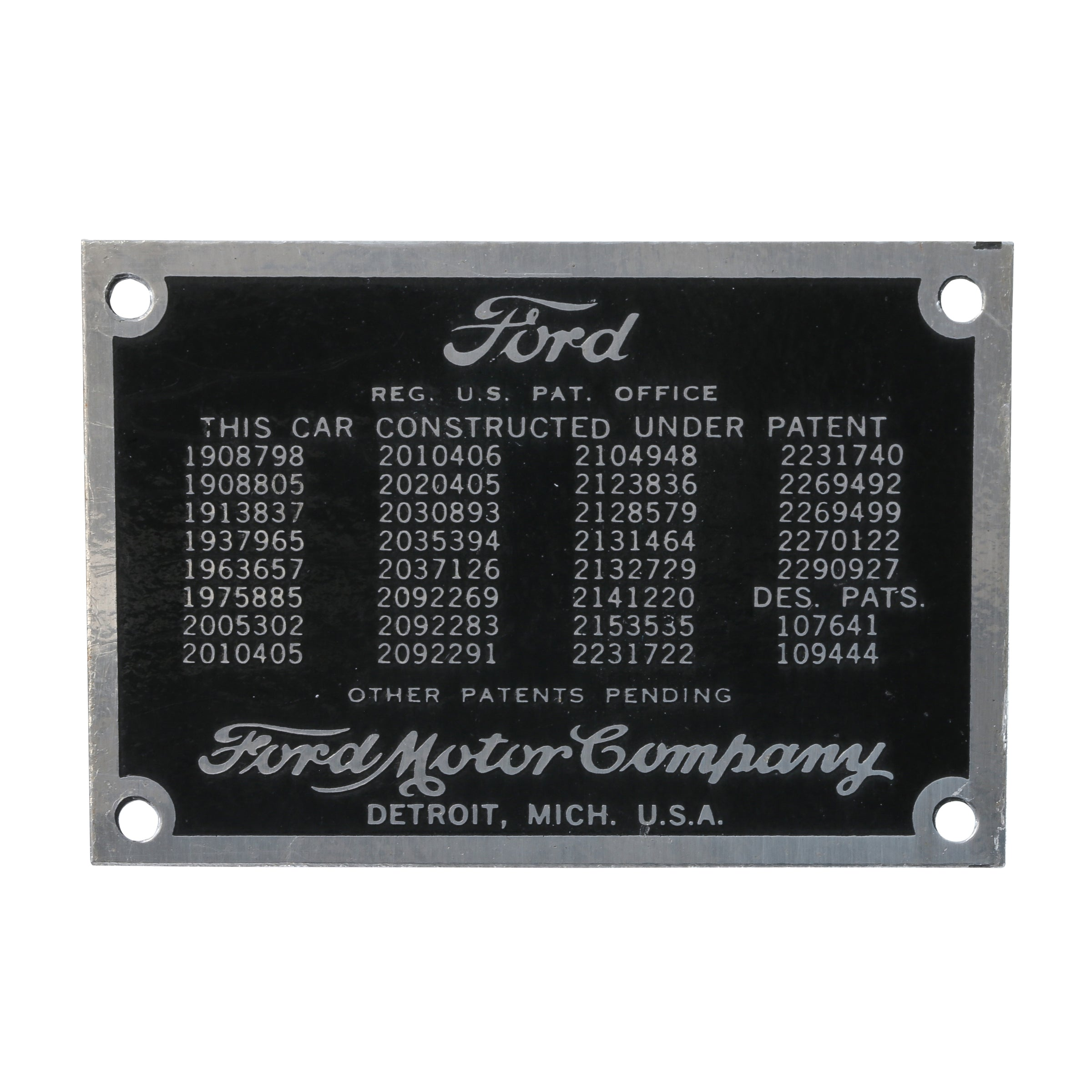 Patent Data Plate • 1937-39 Ford