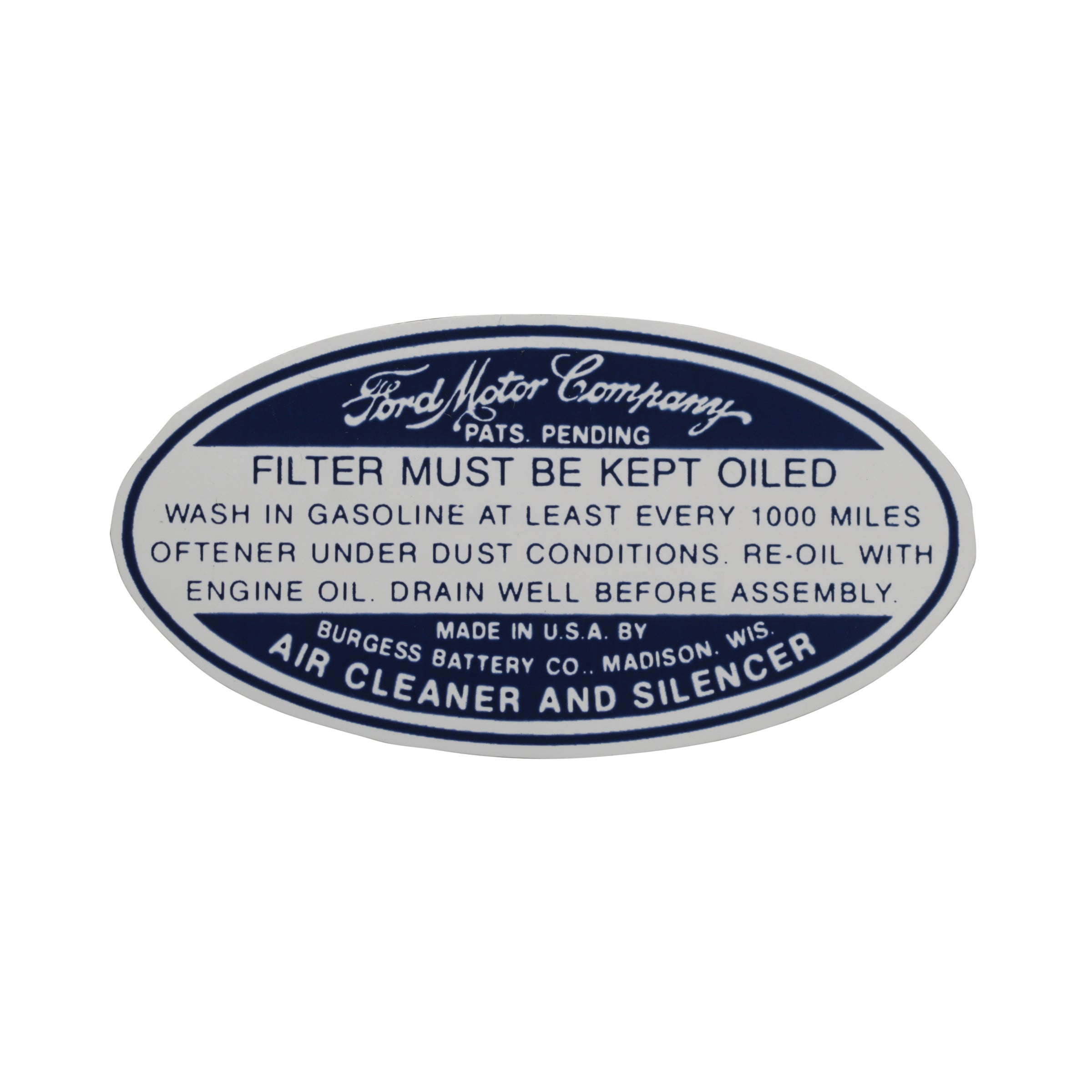 Air Cleaner Decal • 1934-36 Ford