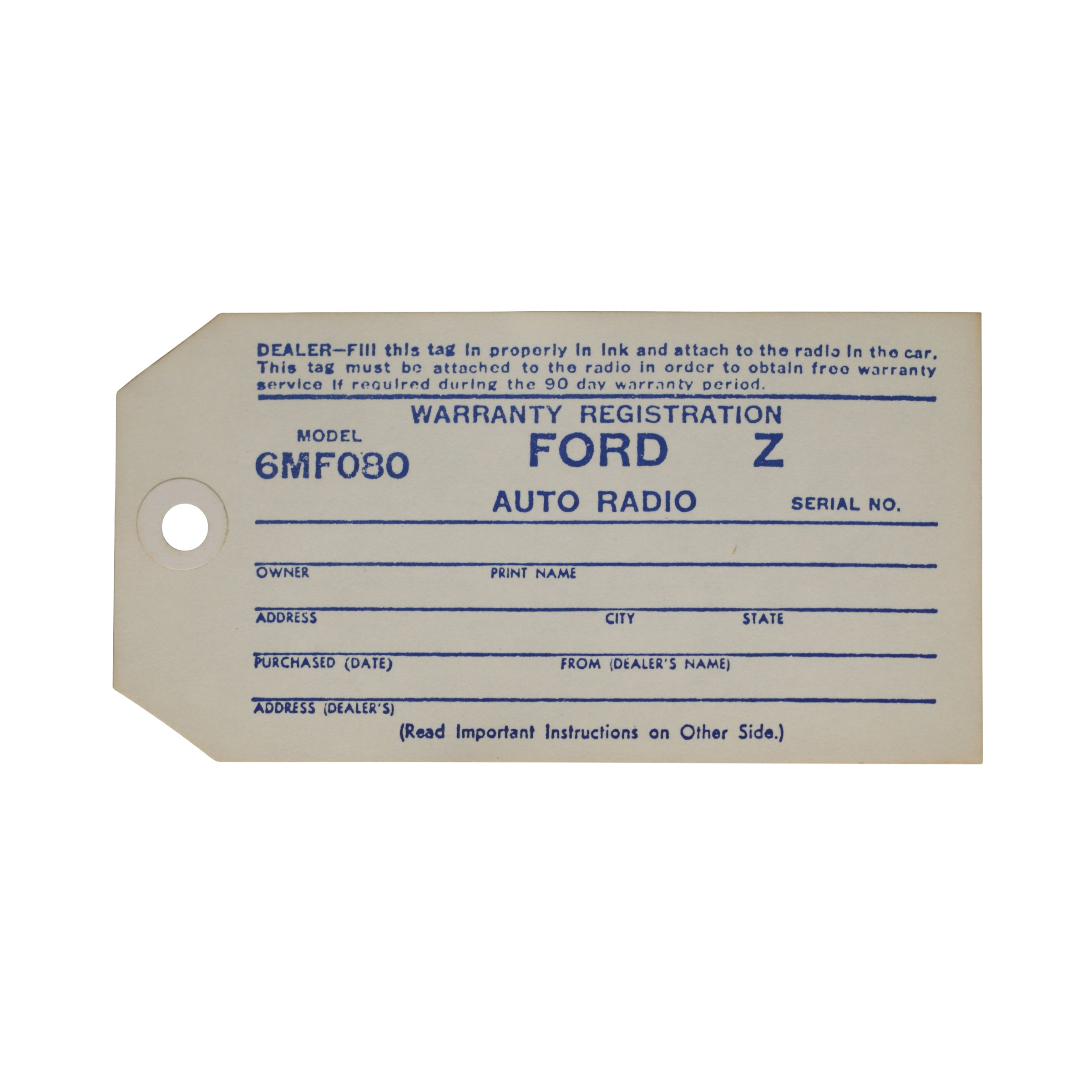 Interior Radio Warranty Tag • 1946-48 Ford