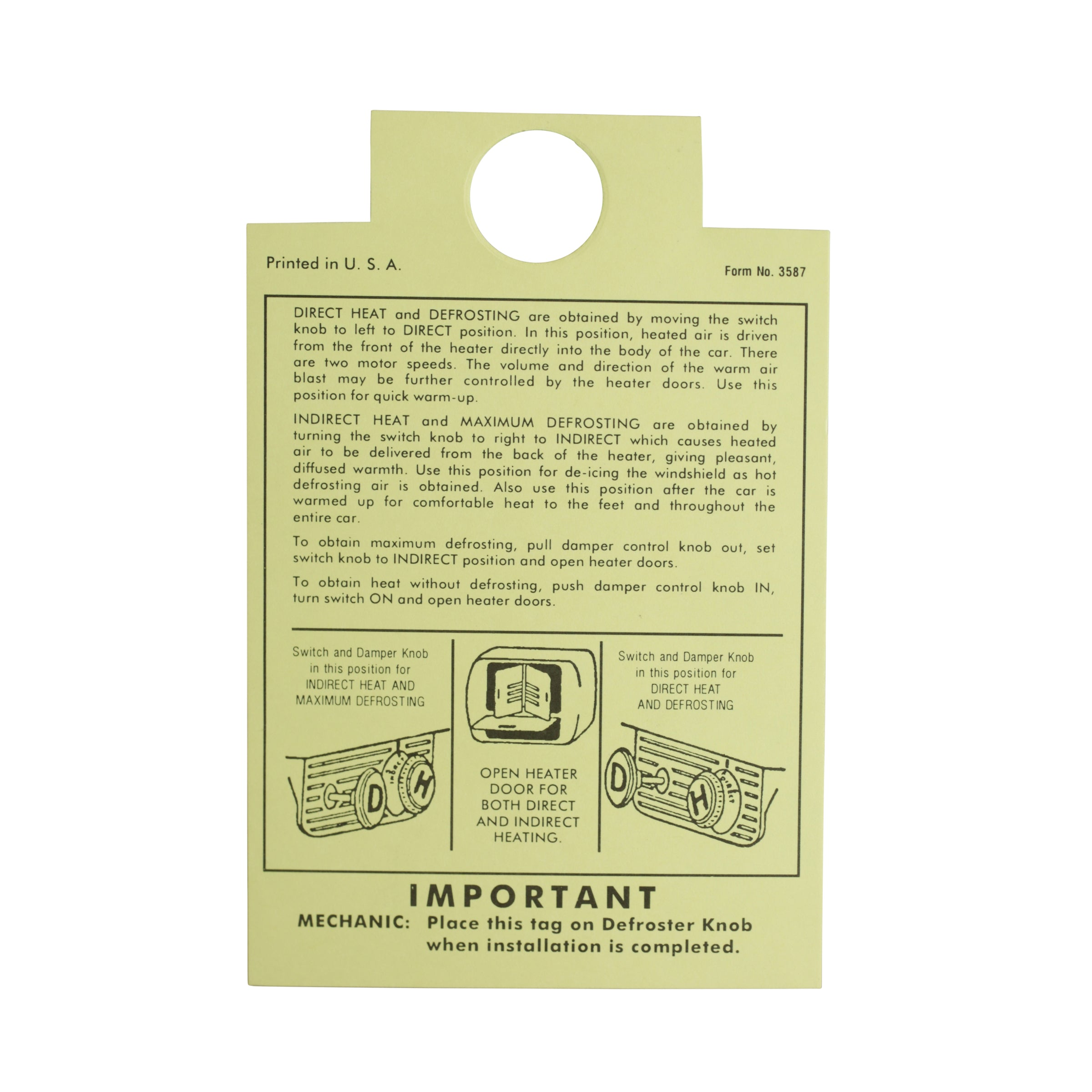 Interior Instruction Tag • 1946-48 Ford